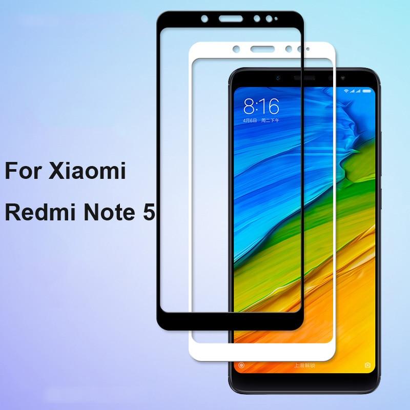 1pcs Ultra-Thin White black color full screen protector Tempered Glass film For Xiaomi Redmi Note 5 Screen protective glass film