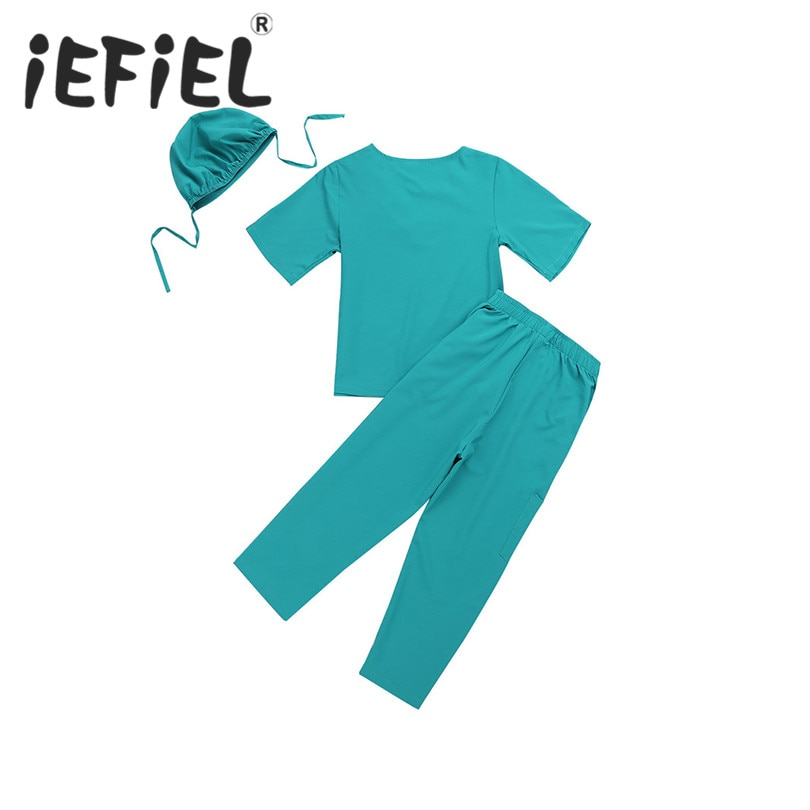 IEFiEL niños niñas equipo de cirugía camisetas de manga corta con pantalones Cap Set para Halloween Cosplay fiesta traje ropa