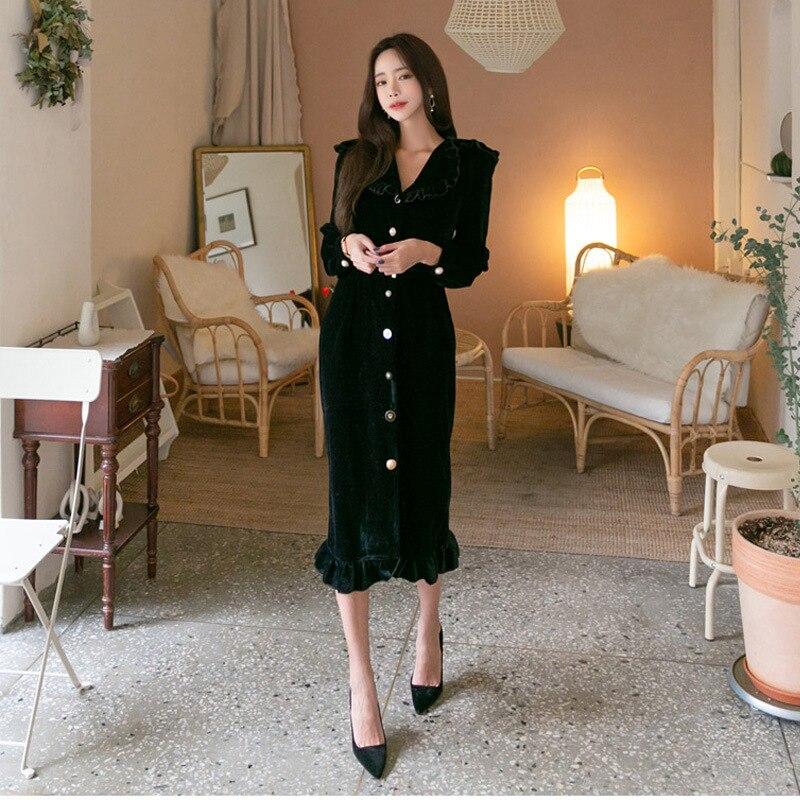 Dress Polyester Dresses women Dresses  Office Lady  A-Line  Solid  Full  Mid-Calf  Regular  Empire  Ruffled Blacj DS137