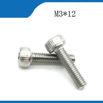 Envío Gratis M3 * 12 100 Uds buena calidad 304 inoxidable cabeza de enchufe hexagonal, DIN912 pernos satinlessstainless nails, revet, pernos