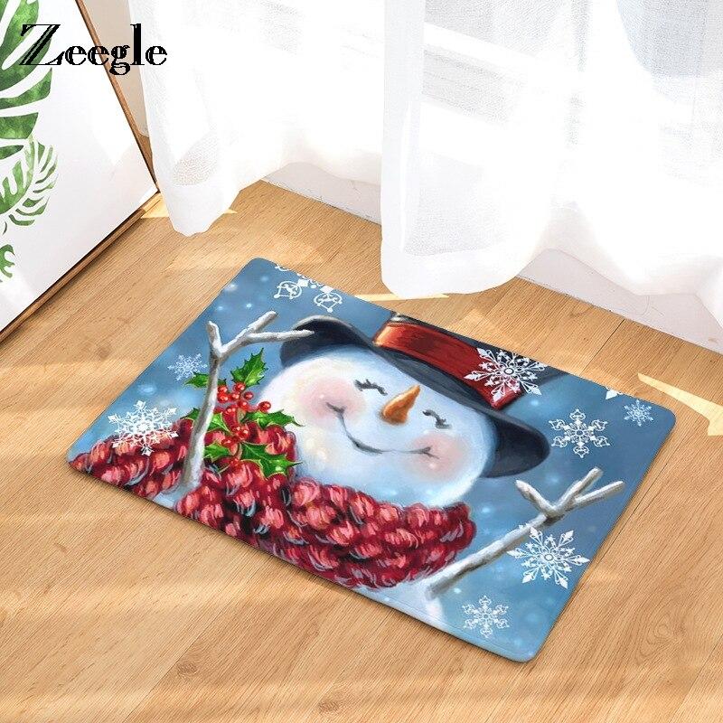 Zeegle Christams estampado de muñecos de nieve alfombrilla para el pasillo felpudos de bienvenida puerta de entrada antideslizante dormitorio alfombra de cocina alfombras hogar manualidades decorativas