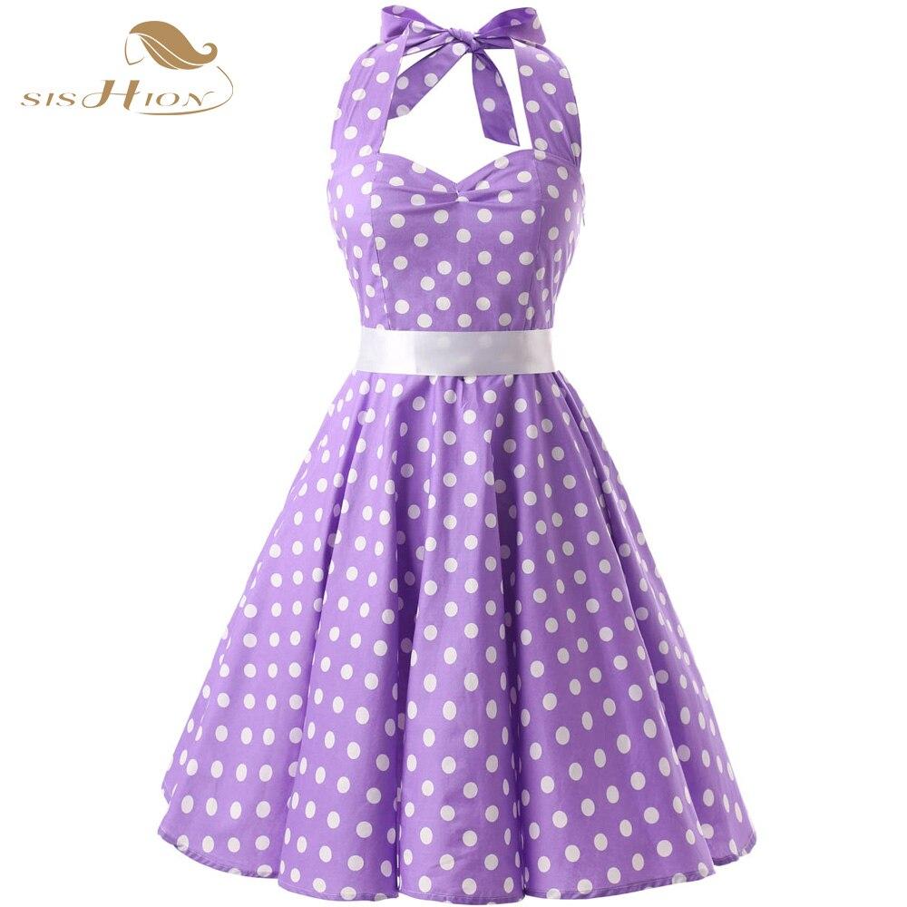 SISHION 100% algodón verano 50s 60s Retro Vintage vestidos XXL de talla grande lunares lila púrpura negro Swing mujeres vestido VD0068