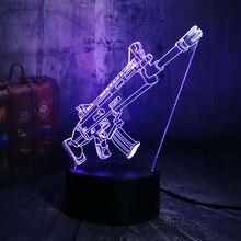 New Cool Battle Royale Game Pubg Tps SCAR-L Rifle Led Nachtlampje Bureaulamp Rgb 7 Kleur Jongens Kinderen Speelgoed home Decor Christmas Gift