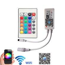 Contrôleur 24 touches WiFi RGB cc 5 V-12 V 24V Mini téléphone sans fil WiFi iOS Android APP à distance pour SMD 3528 5050 bande LED