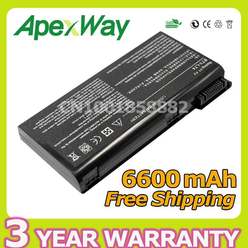Apexway 6600 мАч 9cell батарея для MSI BTY-L74 BTY-L75 A5000 A6000 A6200 A6202 CX620 A6205 CX500 CR630 CX623 91NMS17LD4SU1