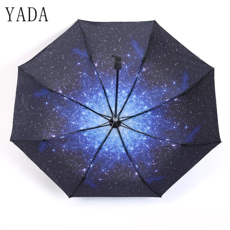 uv para as Mulheres à Prova de Vento Yada Moda Estrela Universo Guarda-chuva Ensolarado Chuva Mulheres Manual Folding Umbrellas Parasol Ys663 Sky