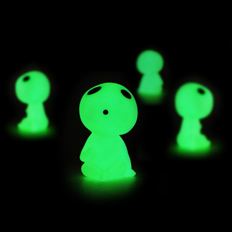 Mini 5 unids/lote princesa Mononoke árbol luminoso elfos espíritu Kodama jardinería en maceta fluorescente Micro paisaje muñeca de juguete de PVC