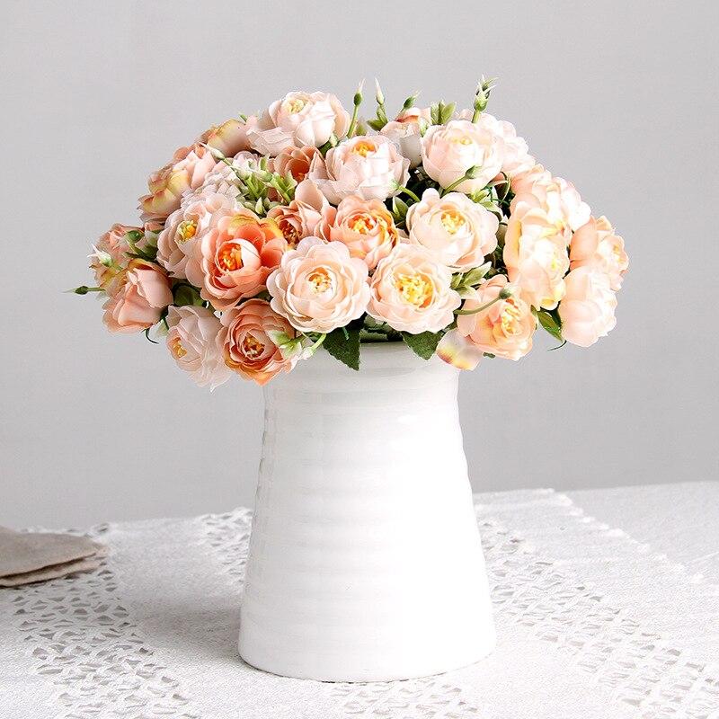 Ramo pequeño de flores artificiales rosas de 10 cabezas flor de loto europeo para decoración de fiesta en casa de boda flores falsas