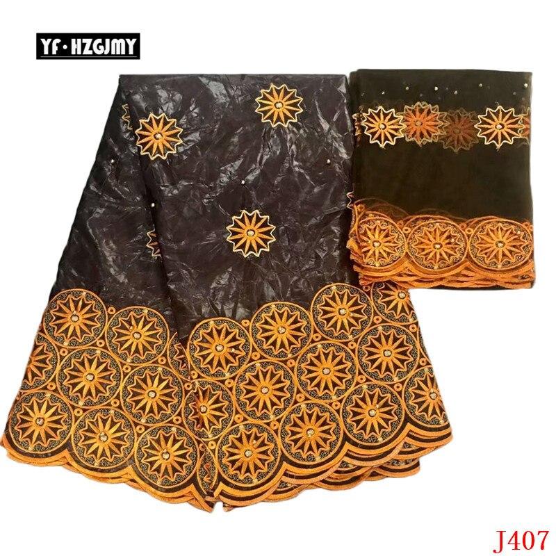 YF HZGJMY bazin riche getzner tissu tela de brocado de encaje africano bordado con piedras 5 + 2 yardas 2019 último encaje para mujeres A407