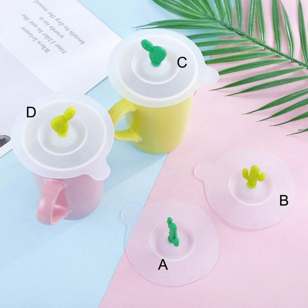 10 cm Anti-polvo de Cactus redondo de silicona a prueba de fugas cubierta de la taza de vidrio resistente al calor taza de café taza de té junta de succión tapa tapa hermética