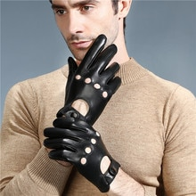 RITOPER Fashion Winter Lambskin Leisure Men Genuine Leather Gloves  Touch Screen Wrist Breathable Solid Sheepskin Driving Glove