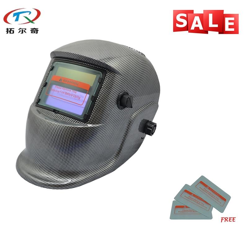 Capacete de Solda Trq-hd18 com 2233de Soldador Automático Máscara Botão Sensível Bateria Lítio Escurecimento Capacete Soldagem Mig Tig