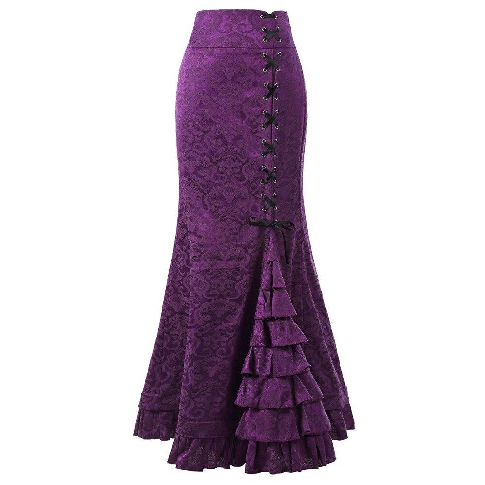 Sisjuly mujeres corte Encaje Vintage Up Floral Jacquard Falda larga con diseño de sirena púrpura negro gris rojo volantes Primavera Verano Maxi faldas