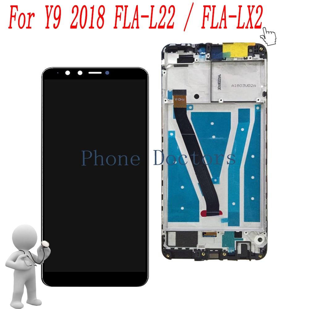 5.93 ''الكامل LCD شاشة عرض + اللمس محول الأرقام زجاج + إطار الجمعية الغطاء عن هواوي Y9 2018 FLA-L22 / FLA-LX2 / FLA-LX1