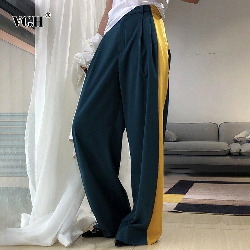 VGH Hit Color Wide Leg Pants For Women High Waist Zipper Loose Casual Full Length Pants Female Fashion New Summer 2019