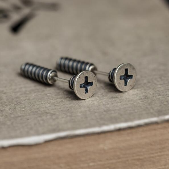 Nuevo diseño Punk 3D con forma de tornillo antiguo 925 pendientes tipo botón de plata fina hombres y mujeres Unisex Hiphop Rock Jewelry