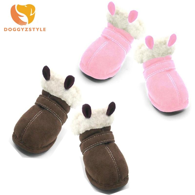 Обувь для собак из шерсти ботинки теплая хлопковая обувь щенков нескользящая