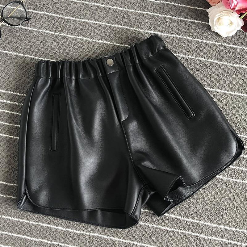 2019 Fall/winter women's high quality real leather wide-leg Shorts  Chic elastic waist high-waist Shorts Women A606