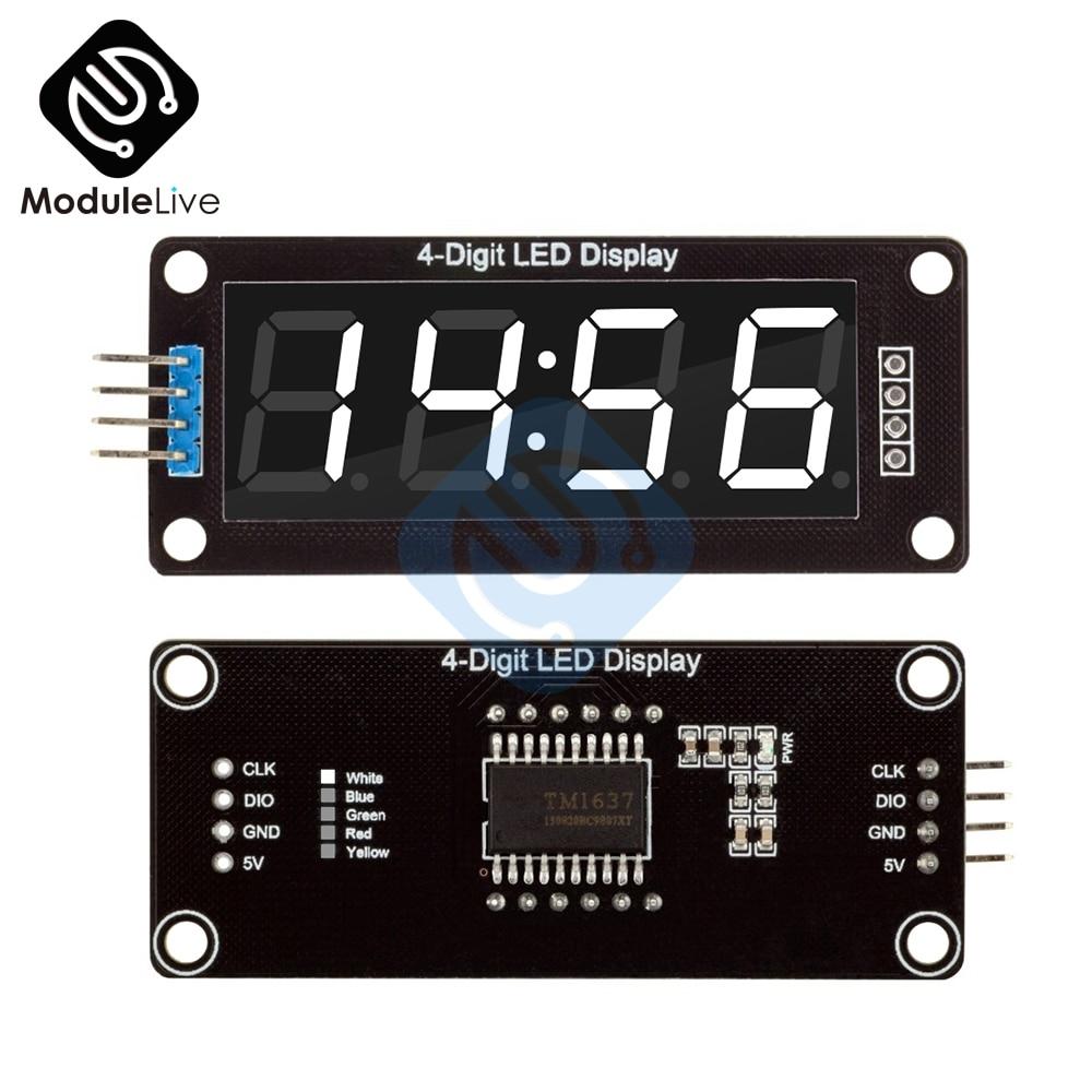 TM1637, 0,56 pulgadas, 0,56 pulgadas, blanco, 7 segmentos, pantalla LED Digital de 4 dígitos, tubo, reloj blanco, módulo de puntos dobles para placa Arduino