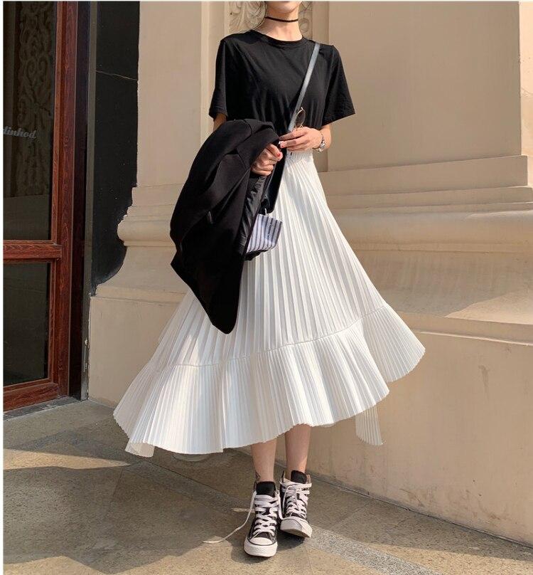 2020 otoño nueva llegada coreano irregular falda dulce Chiffon plisado falda Faldas Largas Elegantes Faldas envío gratis