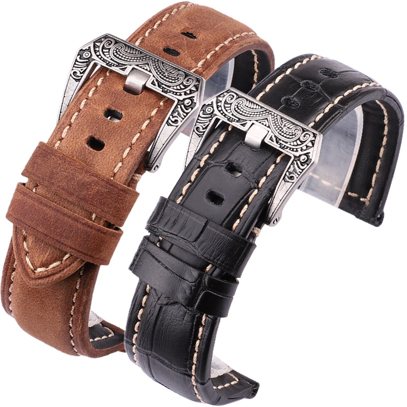22mm 24mm Genuine Leather Watchbands Men Black Brown Orange Wrist Watch Band Strap Belt Retro Brushed Buckle For Panerai
