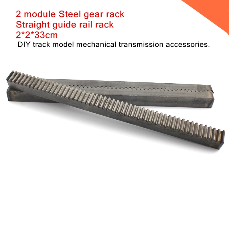 2 module Steel gear rack,2M/M2 Straight guide rail rack,DIY track model mechanical transmission accessories. 2*2*33cm