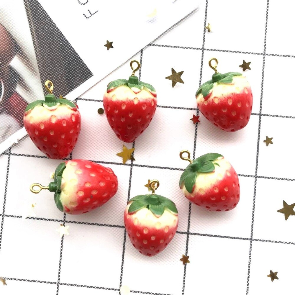 18*22mm 10pcs Kawaii resin Fashion  strawberry Charms  for DIY decoration neckalce earring key chain Jewelry Making