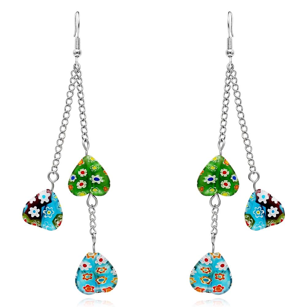 Handmade High Quality Murano Glass Heart Pendant Long Chain Dangle Earrings Trendy Long Tassel Resin Earrings for Women Fashion