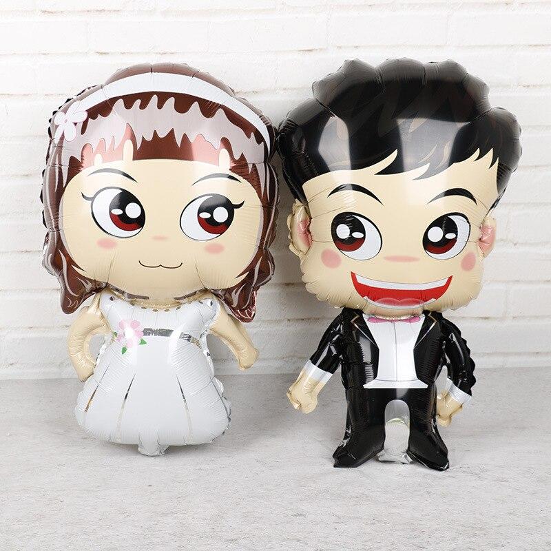 Ballon gonflable pour décoration de mariage de marié   Ballon en aluminium pour décoration juste mariage, fournitures de fête de mariage, ballon gonflable pour fête de mariée