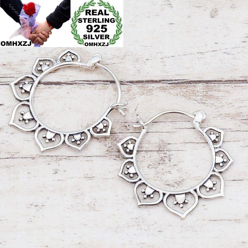 Женские винтажные серьги-кольца OMHXZJ, вечерние серьги серебристого цвета с цветами в Европейском стиле, EA452