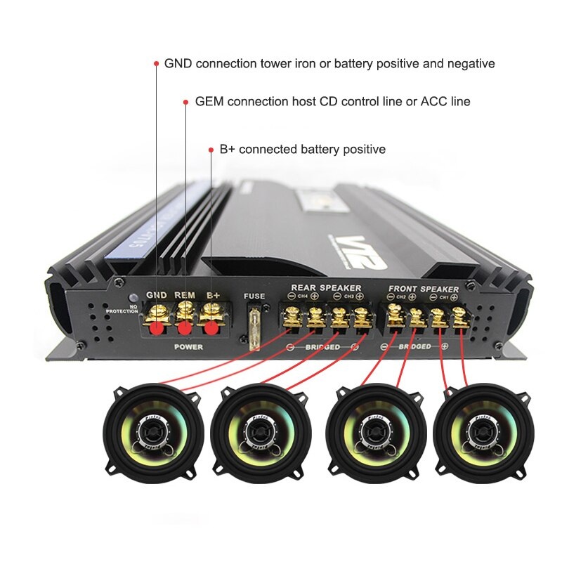 I Key Buy Super Power 3800W 12V MOSFET Car Amplifier Full-Range 4-Way 4 Channel Subwoofer Amplifiers Speaker Booster Black