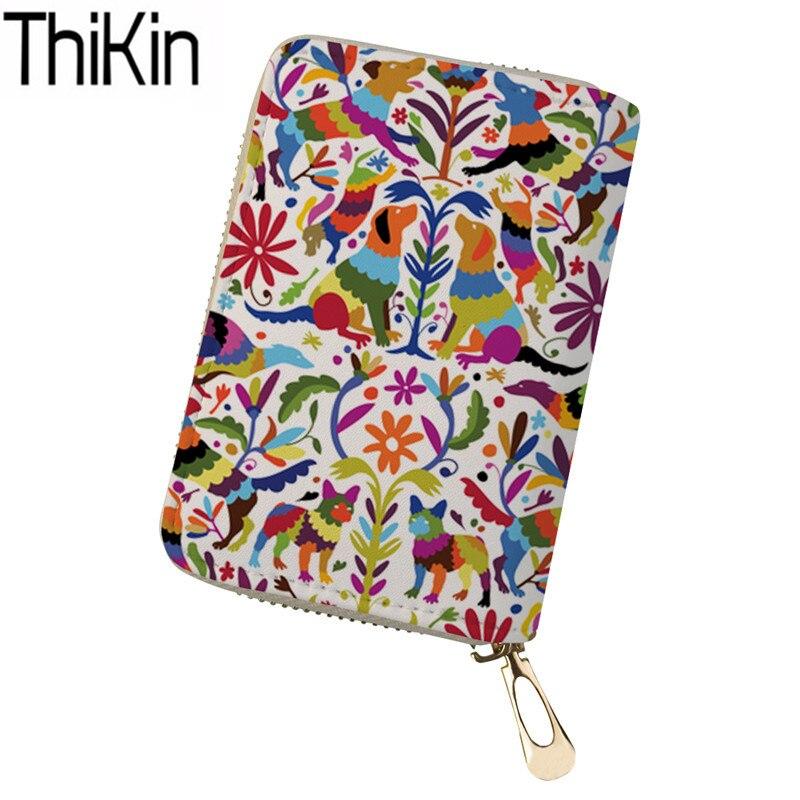Bolsas para tarjetas de crédito de THIKIN para mujeres, billeteras, Impresión de tarjeta de identificación de perro Otomi, soportes para mujeres, organizador de viaje, tarjetas, pasaporte, bolsa con cierre