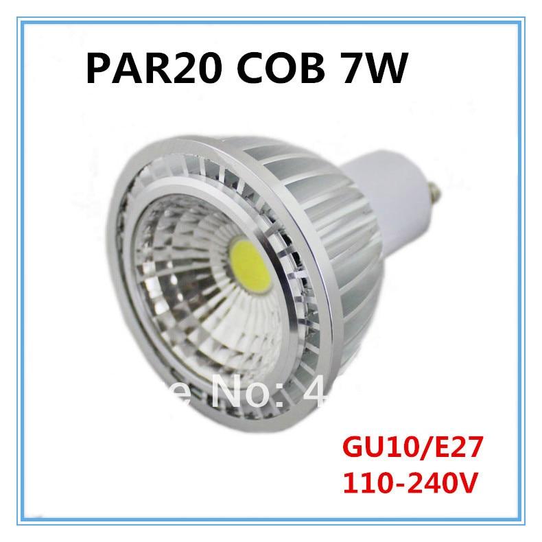 30 pces x atacado de alta potência 110 v-240 v pode ser escurecido 7w cob par20 led e27 gu10 lâmpada bulbo spotlight branco puro/branco quente