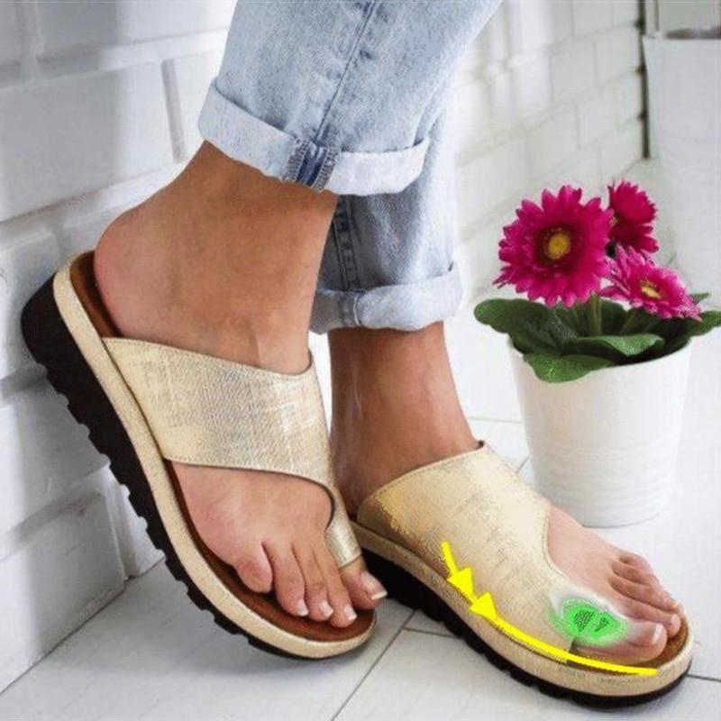 حذاء جلد PU مريح للنساء ، نعل مسطح ، غير رسمي ، ناعم ، صندل بمقدمة كبيرة ، مصحح لتقويم العظام من Bunion
