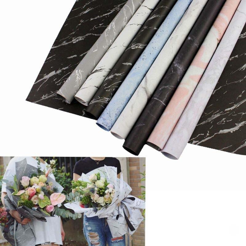 Mármol de papel de regalo envoltura en rollo arte de la decoración de fiesta de Navidad creativo papel de flores para embalaje empaque de ramo Material
