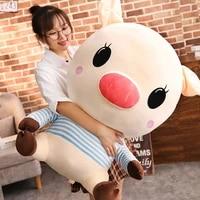 dorimytrader funny cartoon big head pig plush toy giant stuffed anime piggy doll creative pillow for kids gift deco 31inch 80cm
