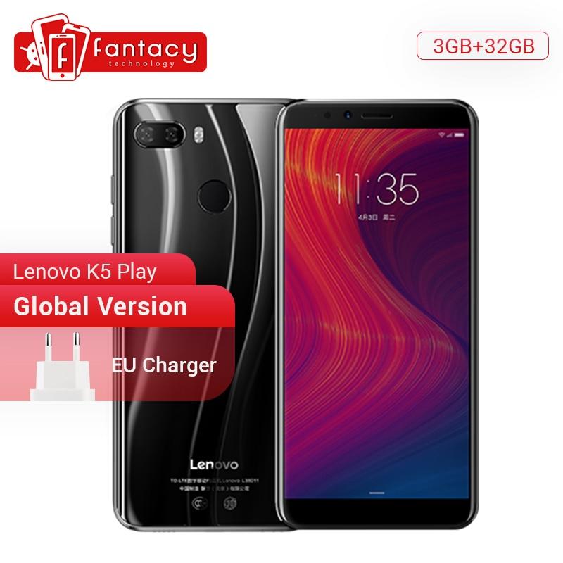 "Versão global lenovo k5 jogar 3 gb 32 gb snapdragon 430 octa núcleo smartphone 1.4g 5.7 ""189 impressão digital android 8 13.0mp câmera"