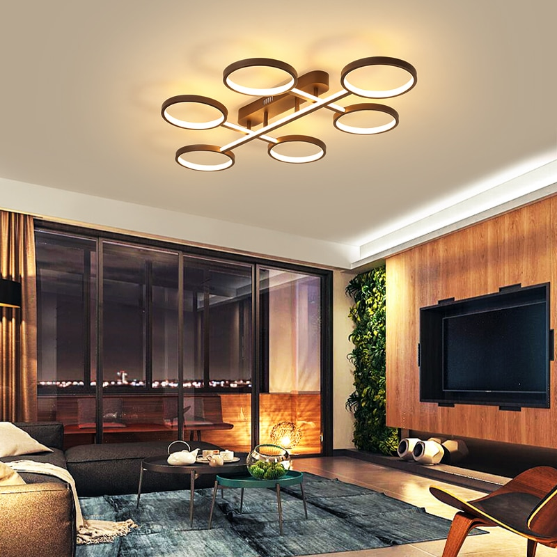 Lampara led de Marco marrón, sala de estar modernas para lamparas de techo, lamparas de dormitorio, lámparas de techo, plafonnier led, led deckenleuchte