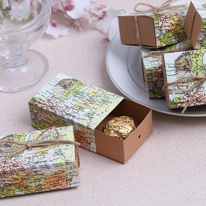 Caja de caramelos con forma de mapa del mundo para decoraciones navideñas,...