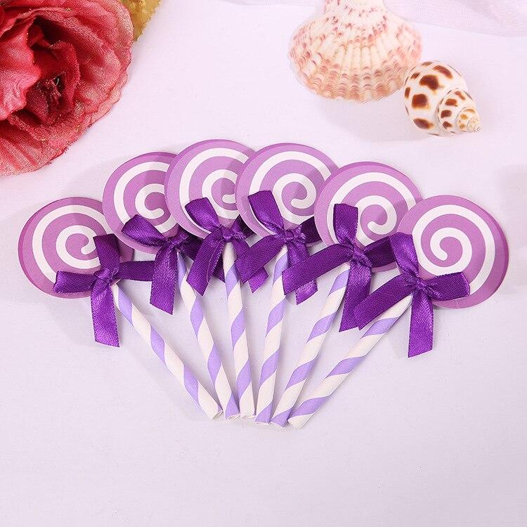 6 unids/lote papel púrpura piruleta pastel de color Cupcake Topper con paja insertada tarjeta bandera regalo encantador decoración fiesta de cumpleaños