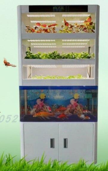 Jardinera interior hidropónica y aquapónica inteligente con tanque de peces