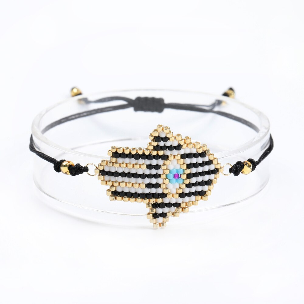 Shinus 5 unids/lote MIYUKI pulseras turcas mal ojo pulseras Hamsa mano Fátima mano Pulsera cuerda cadena mujer su joyería Pulsera