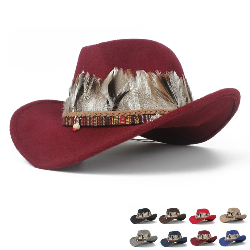 Women Wool Hollow Western Cowboy Hat Elegant Lady Outblack Fascinator Leather Sombrero Hombre Jazz Cap