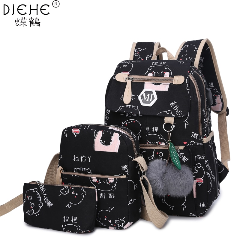 College Girl Canvas 3pcs Backpack letters Printing Women Usb School Backpacks Schoolbag for Teenager