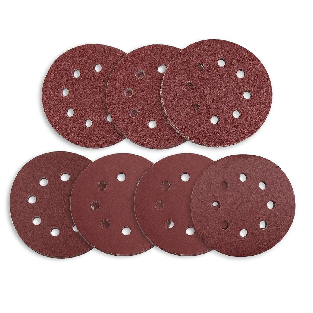 Discos de lijado 70 Uds 8 agujeros 5 pulgadas lija Circular sin polvo gancho y bucle 60/ 80/ 120/ 180/ 240/ 320/ 400 Grit surtido f