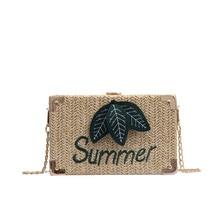 New bolsos de paja verano 2019 Handbags Fashion Women Retro Weave Leaves Leather Bags Crossbody Bag Shoulder Bag sac de plage #C