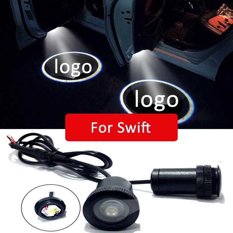 2pcs Led car door light For Suzuki Swift Logo Laser Projector Light Accessories Floor Warning Courtesy lamp 2018 2017 2008  2006