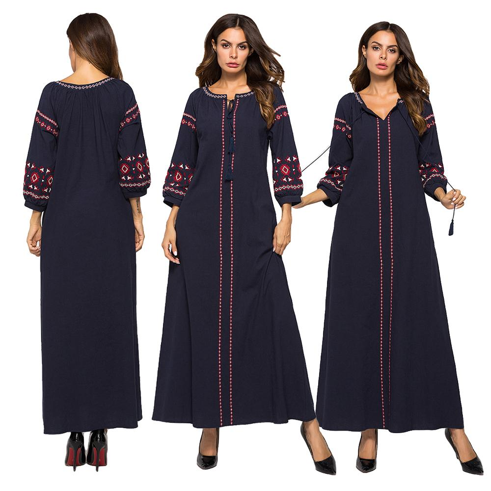 Muslim Women Ethnic Long Dress Embroidery Tassel Maxi Kaftan Arab Party Robe Gown Ukrainian Islamic Clothing Long Sleeve Fashion