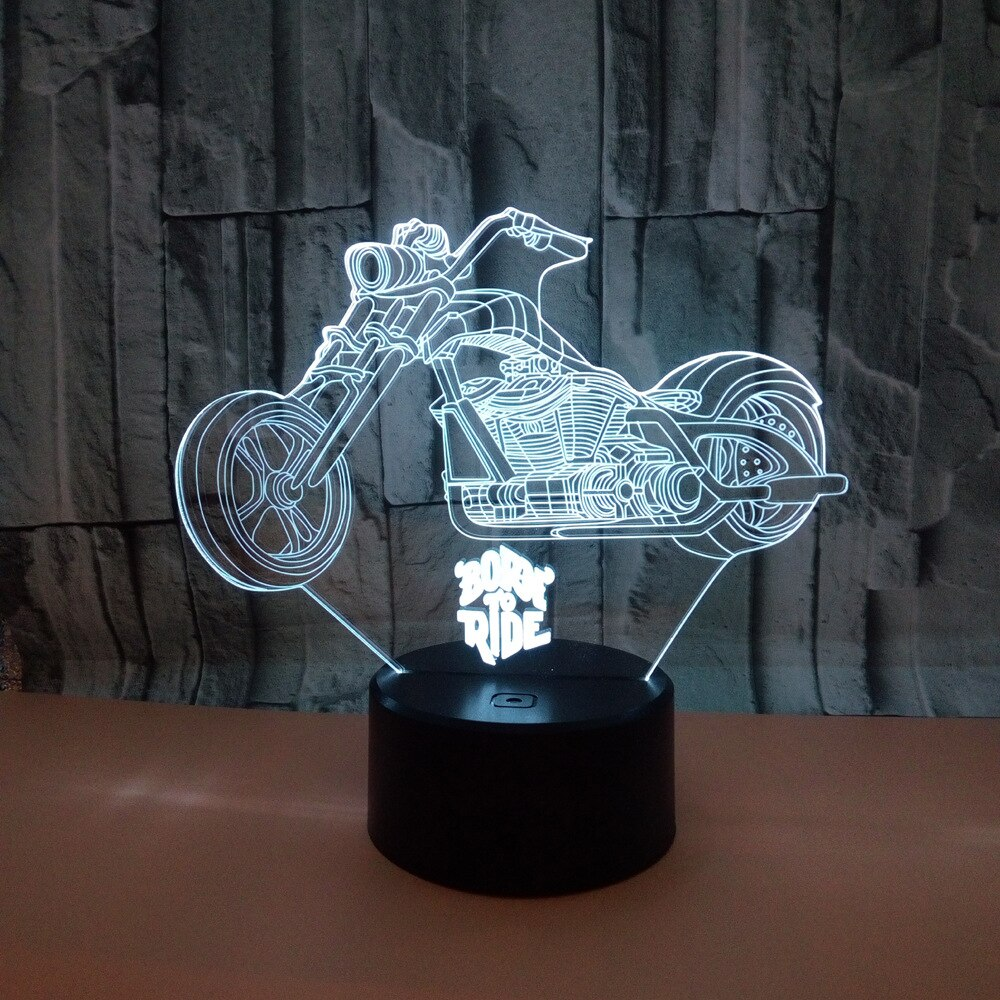 Nueva lámpara 3d para motocicleta, lámpara Led 3d de 7 colores, lámpara Led decorativa sGradual, Control remoto táctil, creativa lámpara de mesa Led 3d pequeña