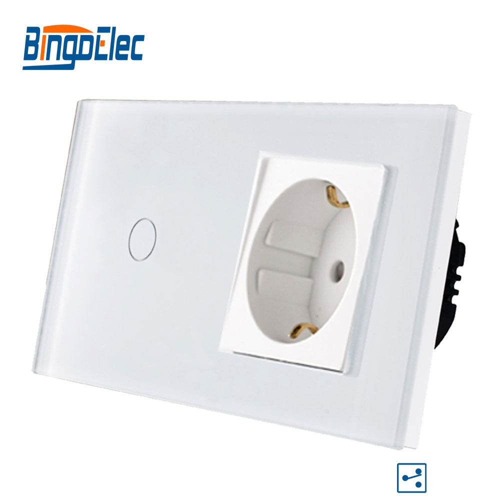 Bingoelec 1 2 interruptor de luz táctil de cristal de lujo Panel del interruptor con Alemania hembra inteligente de pantalla interruptor de pared